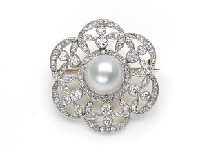Edwardian Pearl & Diamond Brooch