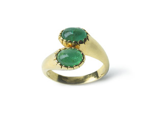 Emerald & Gold Crossover Ring