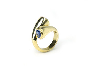 Two Stone Sapphire Crossover Ring