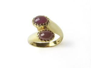 Two Stone Ruby Crossover Ring