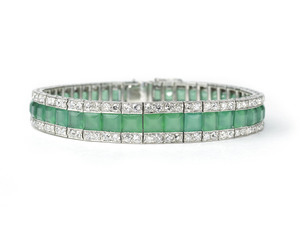 Art Deco Chrysoprase & Diamond Bracelet