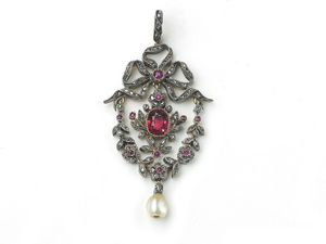 Antique Red Spinel Diamond & Ruby Pendant