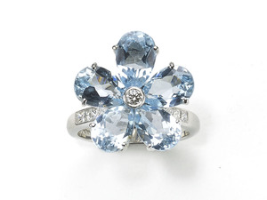 Blue Topaz Flower Ring