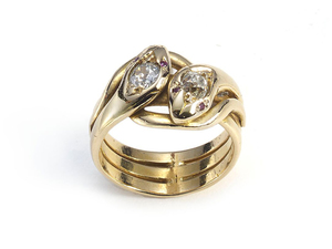 Gold & Diamond Cross Over Snake Ring