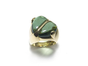 Green Tourmaline Gold Heart Ring