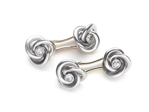 Art Deco French Diamond Knot Cufflinks