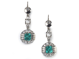 Art Deco Emerald & Diamond Earrings