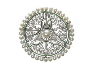 Pearl Diamond & Enamel Brooch