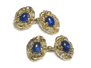 Sapphire & Diamond Carved Gold Cufflinks