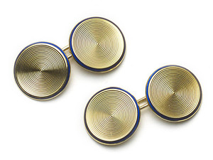 Gold Disc Cufflinks With Enamel