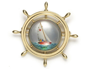 Reverse Crystal Yacht & Ship's Wheel Brooch