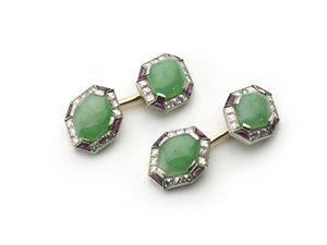 Jade Ruby & Diamond Cufflinks
