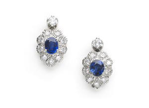 Sapphire & Diamond Cluster Drop Earrings.