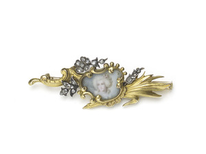 French Diamond and Gold Portrait Brooch