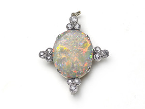 Antique Opal & Diamond Brooch