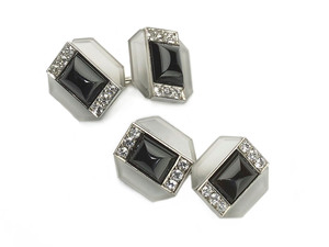Rock Crystal, Black Onyx & Diamond Cufflinks