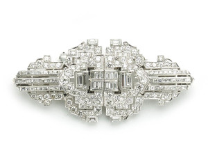 Art Deco Diamond Double Clip Brooch