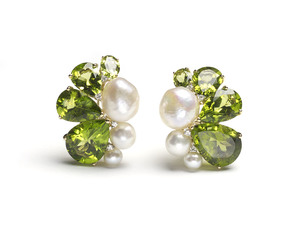 Peridot Pearl & Diamond Earrings