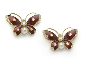 Red Enamel Butterfly Earrings