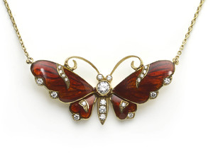 Red Enamel Butterfly Pendant