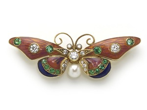 Pink & Blue Enamel Butterfly Brooch