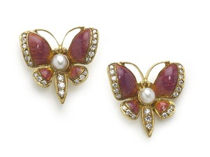 Pink Enamel Butterfly Earrings