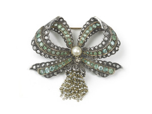Emerald & Diamond Bow Brooch