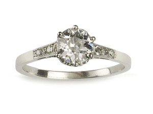 Art Deco single stone diamond ring, 0.84ct