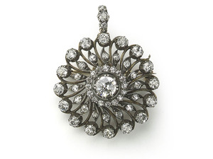 Antique Diamond Circular Cluster Brooch-Cum-Pendant