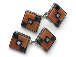 Coral Onyx & Diamond Cufflinks