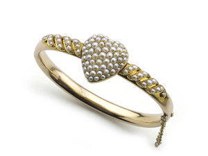 Victorian Pearl Heart Bangle