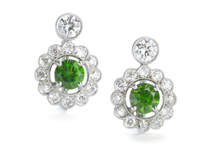 Demantoid Garnet & Diamond Earrings