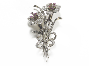Diamond & Ruby Flower Brooch
