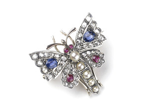 Antique Gem-Set Butterfly Brooch