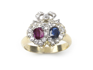 Sapphire, Ruby & Diamond Double Heart Ring