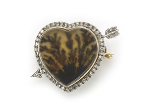 Antique Faberge Moss Agate Brooch