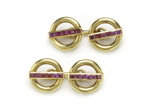 Cartier Ruby and Gold Cufflinks