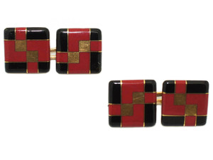 Tiffany & Co. Art Deco Enamel Cufflinks