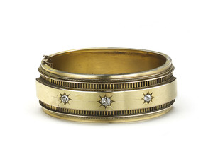 VICTORIAN DIAMOND GOLD BANGLE