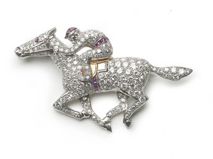 Horse & Jockey Brooch