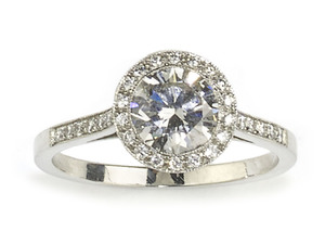 Diamond Halo Cluster Ring, 1.01ct