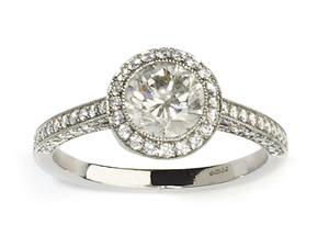 Diamond Halo Ring, 0.94ct