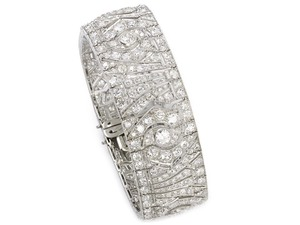 French Platinum Art Deco Diamond Bracelet