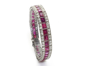 Art Deco Burma Ruby & Diamond Bracelet