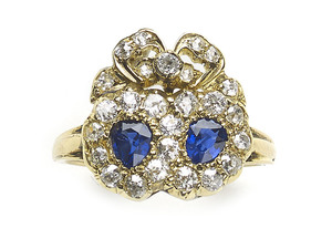 Sapphire & Diamond Double Heart & Cluster Ring