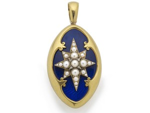 Victorian Blue Enamel & Pearl Locket