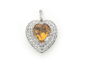 Topaz Diamond Heart Pendant