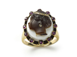 Antique Cameo Ring with Enamel Ruby and Diamond