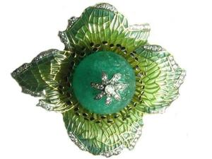 Plique á Jour Enamel Poppy Flower Head Brooch