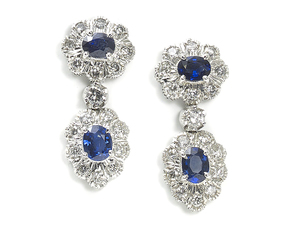 Sapphire & Diamond Cluster Drop Earrings